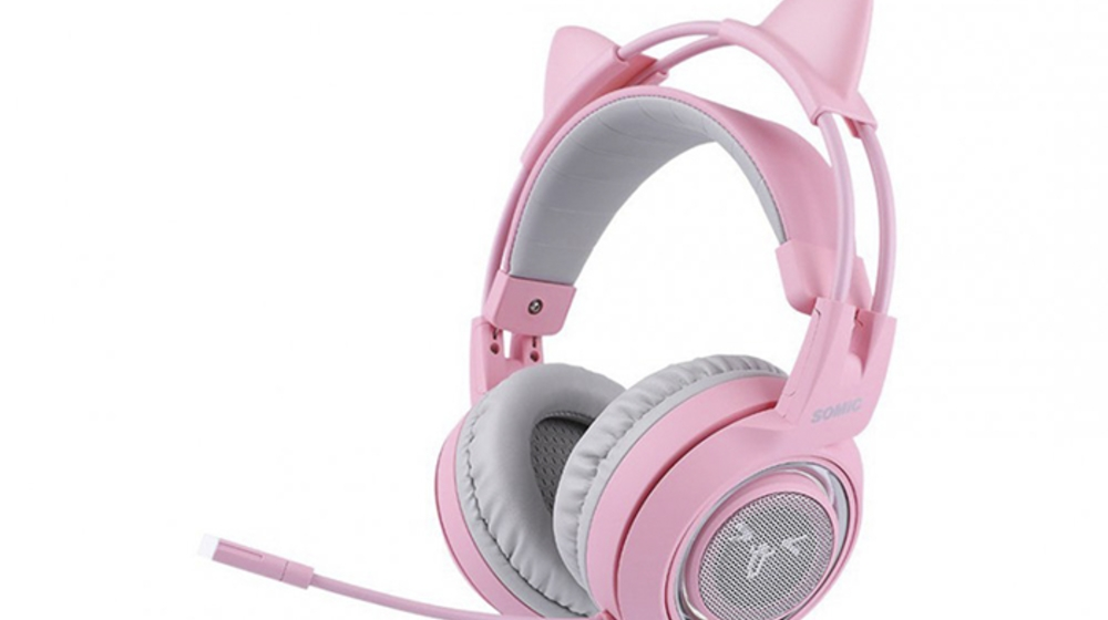 Tai nghe mèo Somic G951 gaming màu hồng có đèn LED, micro