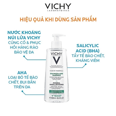 Nước tẩy trang Vichy Pureté Thermale Mineral Micellar Water For Combination To Oily Skin