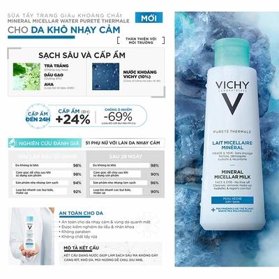 Nước tẩy trang Vichy Pureté Thermale Mineral Micellar Milk For Dry Skin