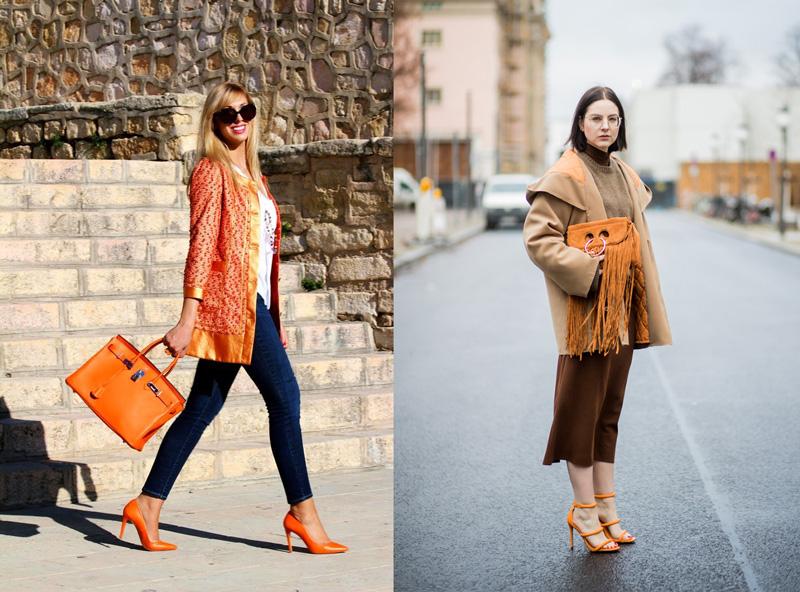 Mix đồ cùng túi xách màu cam