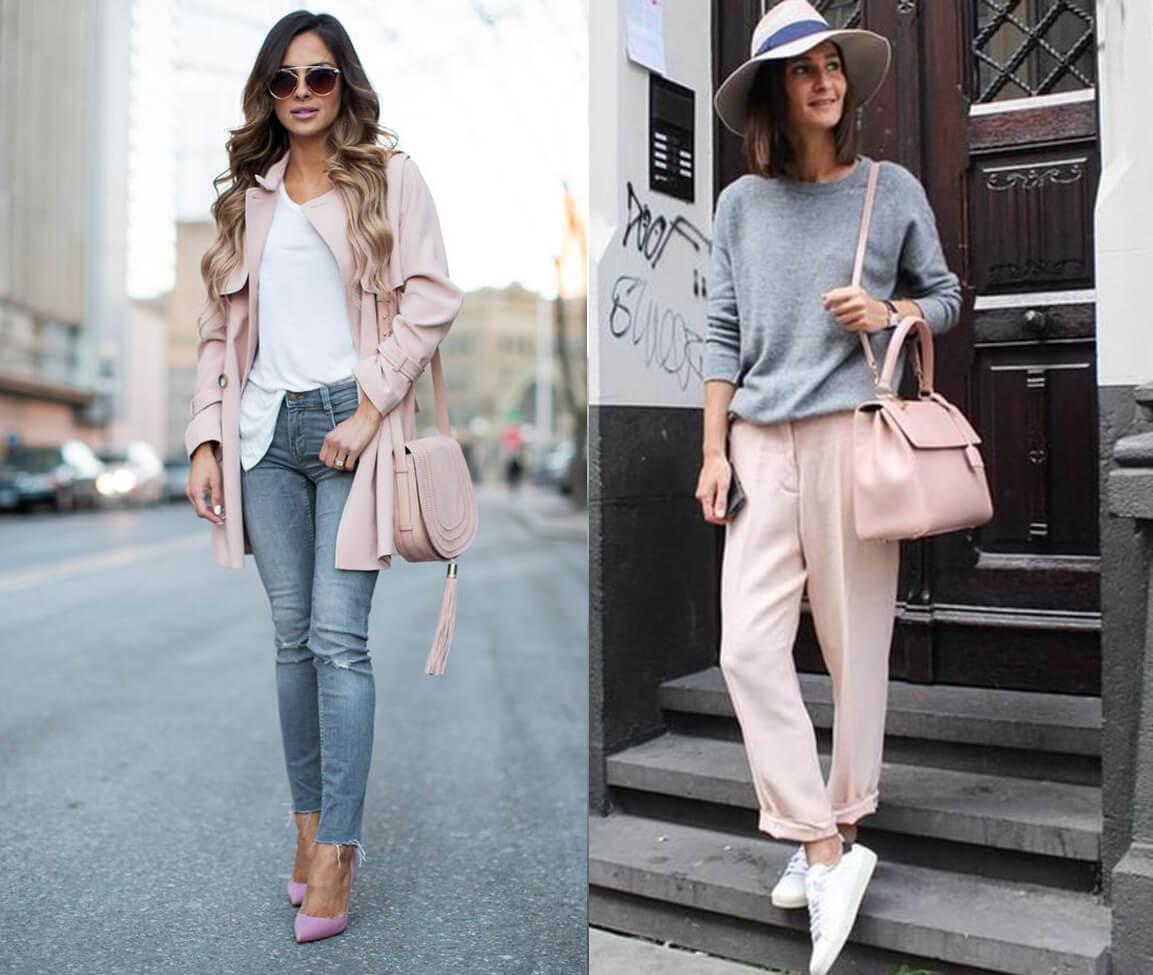 Phối đồ với túi xách màu hồng pastel nhẹ nhàng