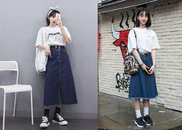 Chân váy jean dài nên mặc với áo gì