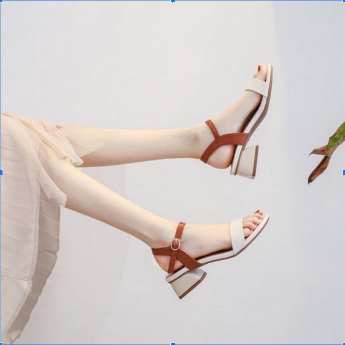 Giày sandal cao gót đế vuông 3cm