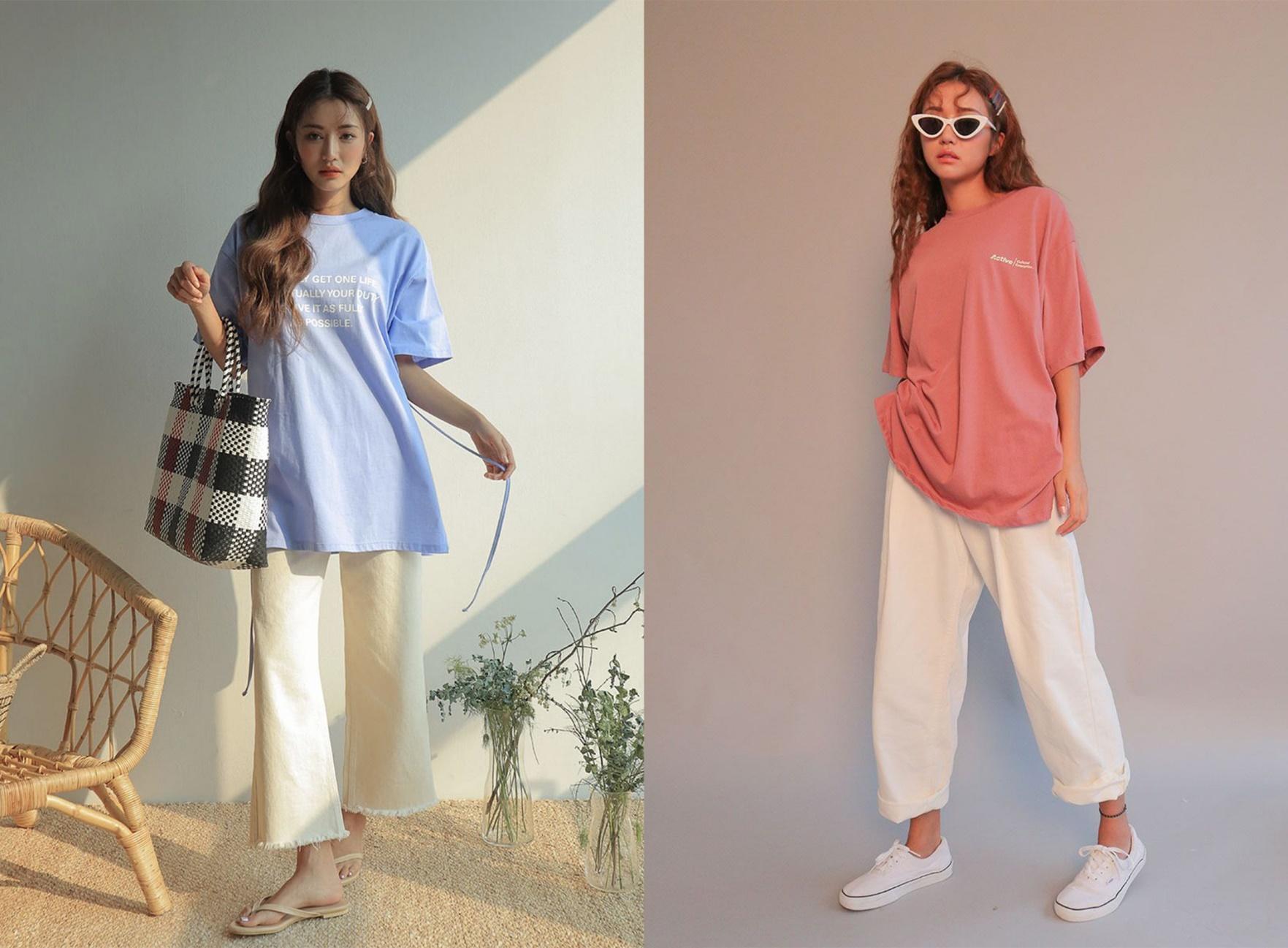 cách phối đồ với áo thun form rộng nữ và quần kaki