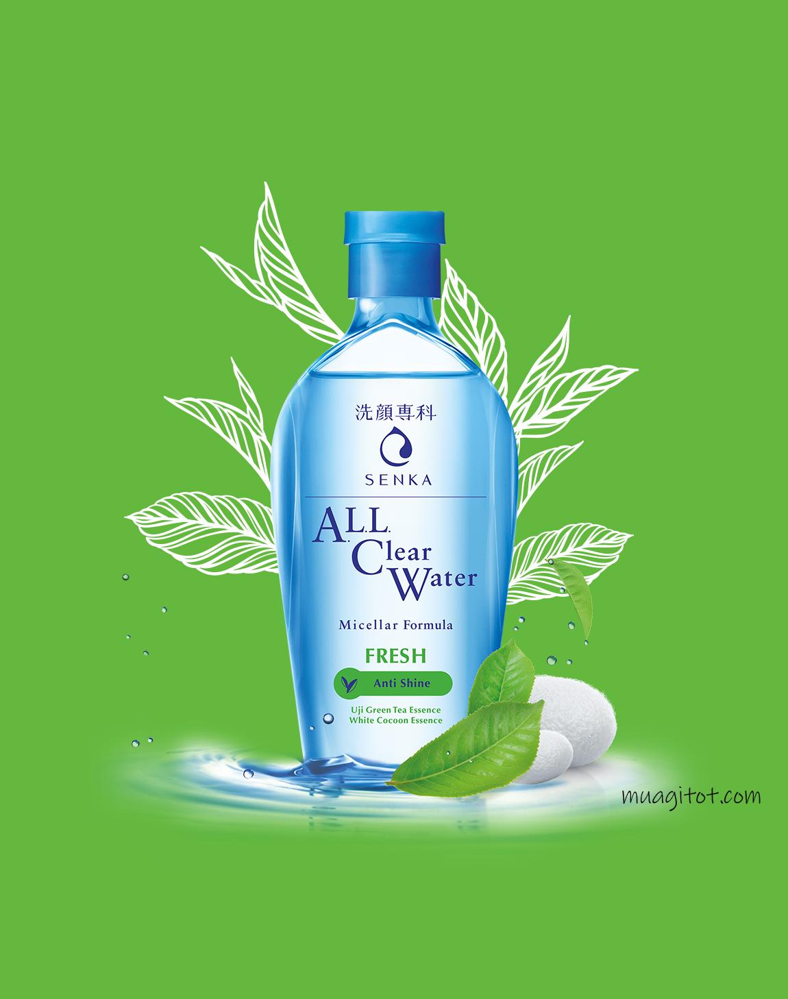 nước tẩy trang senka all clear water fresh anti shine
